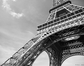 Paris Eiffel Tower Black and White Photography, Wall Decor, Architecture Photography, Photo France