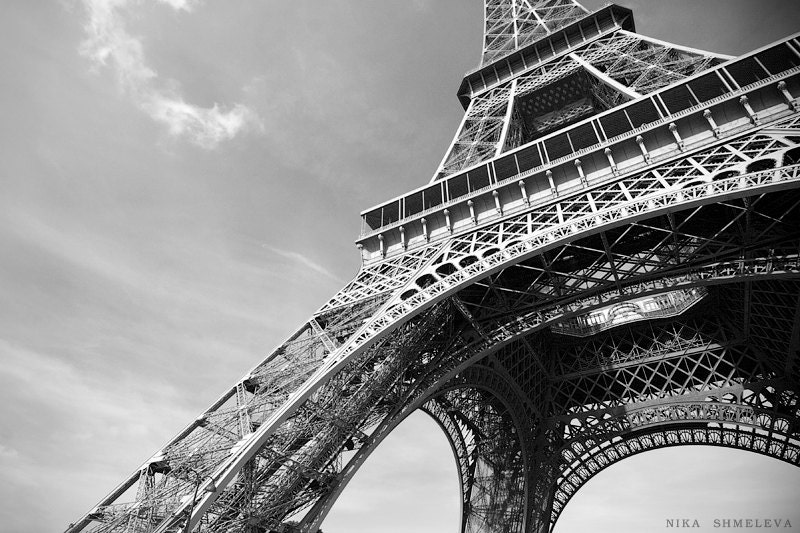 Paris eiffel tower black and white photography wall decor for Black and white paris wall mural