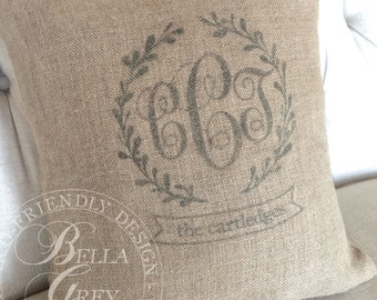 Triple Wreath Monogram Burlap Pillow Cover - Personalized Wedding Gift - Shabby Chic Anniversary Gift - Housewarming Gift - Engagement Gift