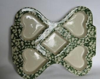 Vintage Friendship Pottery Roseville, Ohio Green Sponge Ware Heart and Diamond Muffin Pan, Decoration