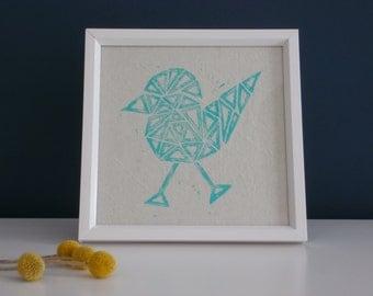 Handmade print on cloth. Bird. Triangle. Framed.