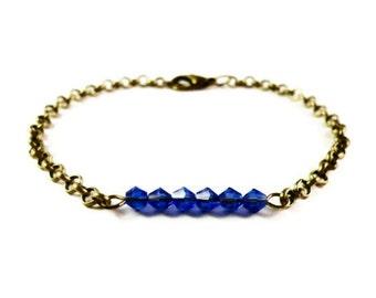 Sapphire Blue Crystal Bracelet, Beaded Bar Bracelet, September Birthstone Bracelet, Beadwork Jewelry, Simple, Dainty, Bronze Chain Bracelet