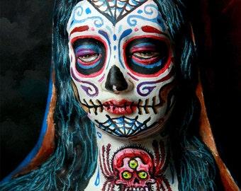 Beautiful Mortal Dia De Los Muertos Mary PRINT 402 Reproduction by Michael Brown