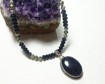 Blue Goldstone Pistachio Pearl Pendant Necklace