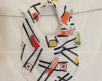 Chopsticks Bib -  Handmade,100% cotton, Made in Australia, Newborn Bib, Baby Bib, Toddler Bib, Dribble Bib, Funky Bib, Unique Bib