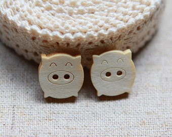 30 Pieces Happy Pig Wood Buttons - 18mm - 2 Hole Natural Wooden Button in Shape of Little Happy Piggy
