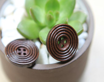 20 Pieces Brown Color Wood Buttons - 25mm - 4 Hole Natural Wooden Button Dark Brown Color Concentric Circle Design