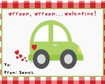 Vroom, Vroom Valentines Day Cards, Kids Valentines Party Printables