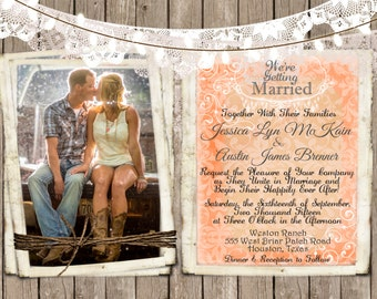 Rustic and Lace Wedding Invitation, Lights, Wood Fence, Photos, Digital File, Printable, 5x7
