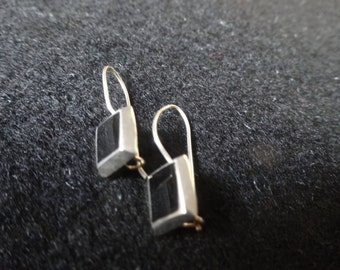 Vintage 1960s Black Onyx Stone Sterling Silver Drop Pierced Earrings