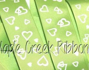 "1-1/2"" Apple Green Grosgrain Ribbon with White Hearts 1-1/2"" x 1 yard"