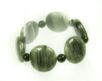 Subdued Green Jasper Gemstone Bracelet.