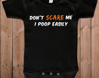Baby halloween costumes Halloween costume Don't scare me I poop easily funny baby gift idea baby bodysuit gift for newborn one piece romper