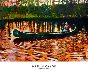 Print of Man in Canoe Painting by Michael Doig