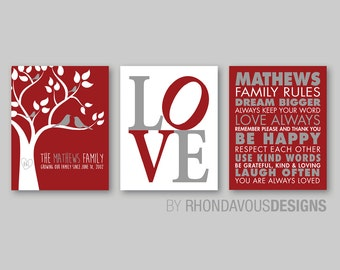 Monogrammed Family Tree Wall Print Art - Family Rules Print - Family Tree Print - Love Print - Family Wall Art - Personalized Gift  (NS-480)