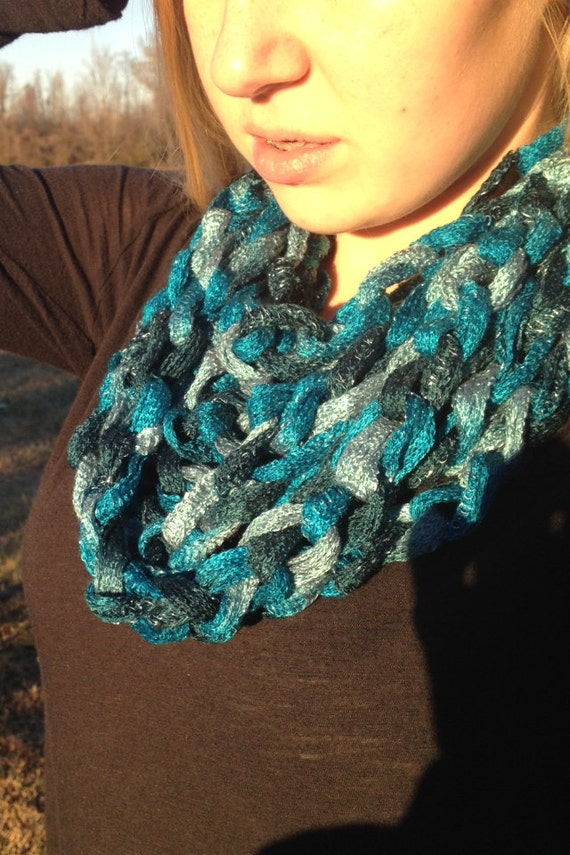 Jive Crocheted Infinity Chain Scarf, spring scarf, summer scarf, crochet necklace