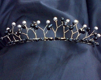Black and Grey Beaded Prom Tiara