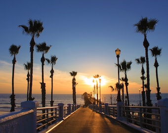 Vacant Pier, Palm Trees, Sunset Photography, Oceanside, California