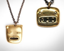 HAROLD AND TED Necklaces - Two Brass Oxidized Monster Face Pendants - Siamese Twins - Blamo Toys - Unique Birthday Gift