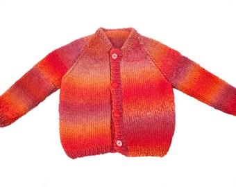 Morocco saffron hand made artistic cardigan size 92, 18-24 months