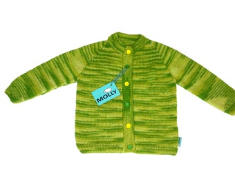 """Hand made soft angora woool & acrylic kids cardigan  """"Amazonian forest"""" in size 116; 3,5-4 years old"""