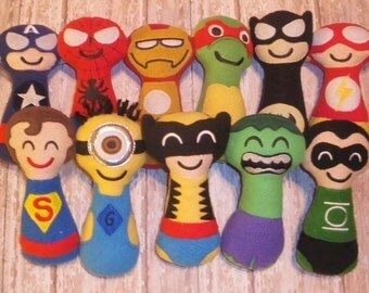 Super soft, safe character baby boy rattles - Star wars - Superhero - Seasame Street