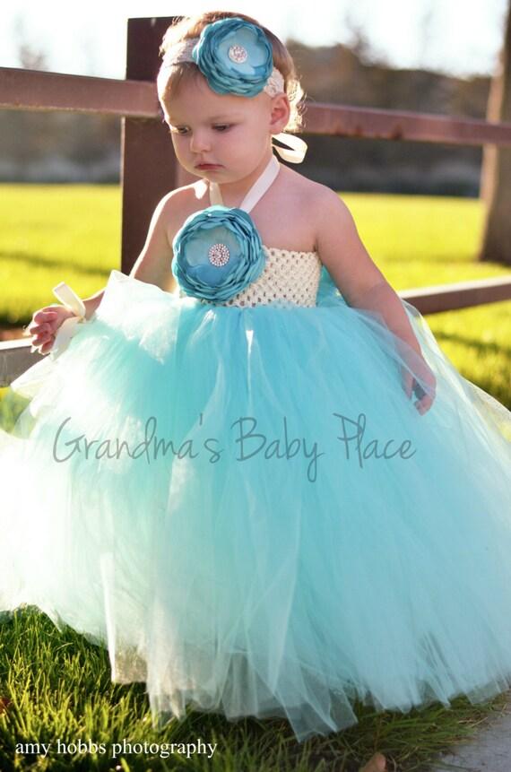 tiffany blue wedding flower girl dress