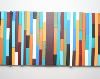 Painted Recycled Wood Wall Hanging