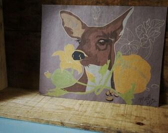 Doe deer print // 8x10 kraft paper deer print // fall deer
