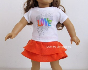Doll Clothes White Shirt + Orange Layered Skirt Fit Ameircan Girl Dolls 289