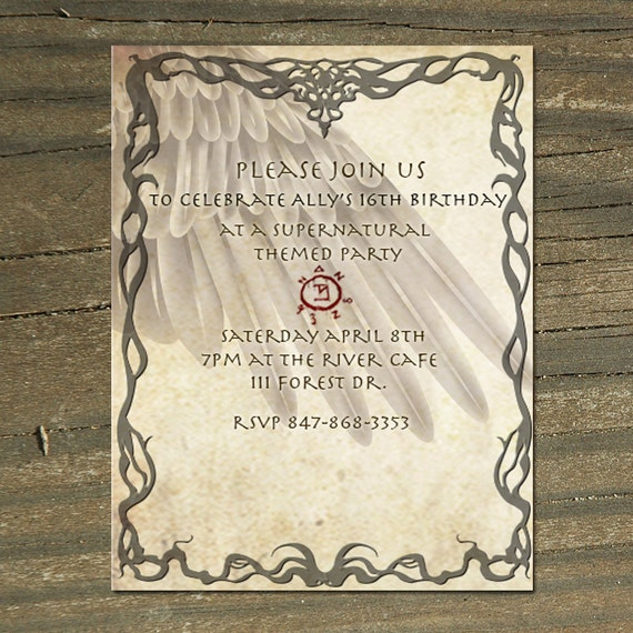 Supernatural Themed Custom Printable Invitation Castiel Angel