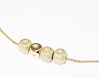 Solid 14K Gold Necklace | Solid 14K Yellow Gold Necklace with 4 Cubes Pendant | Gold Beaded Necklace