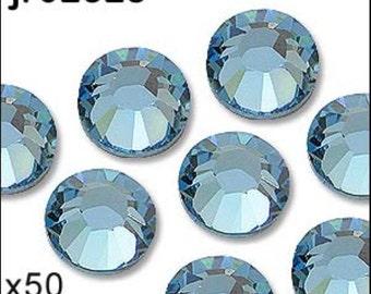 1 pack of 50 aquamarine diamante. Hot fix. Size 5mm/ss20. JR02325