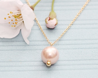 Gold Plated, Simple Pink Pearl Charm, Color is Your Choice, Necklace
