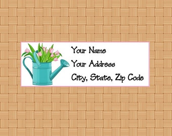 Address Labels Personalized Labels Return Labels Flower Labels Water Can Tulips Labels