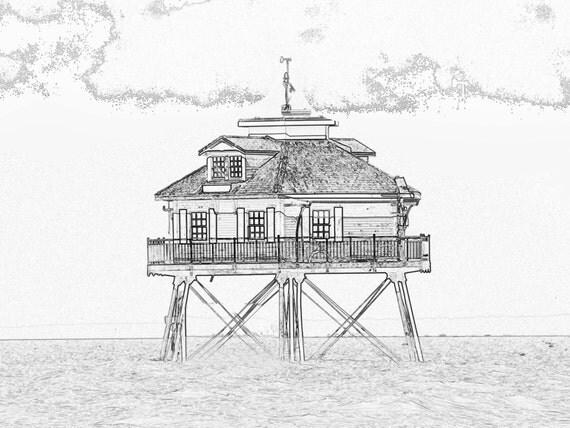 Lighthouse Line Art : Middle bay lighthouse line art print by donpuckett