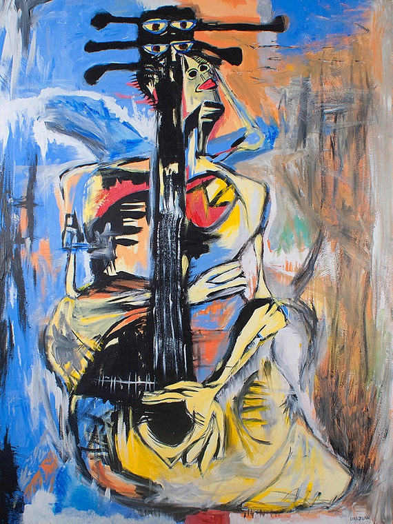 woman guitar art painting surreal abstract expressionist pop. Black Bedroom Furniture Sets. Home Design Ideas