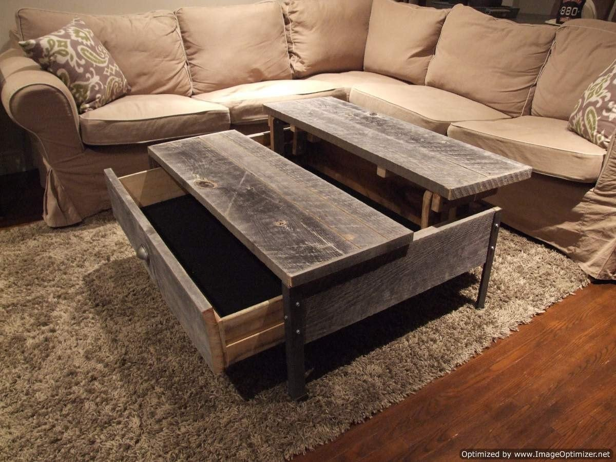 Old barn wood pop up table for Pop up coffee table
