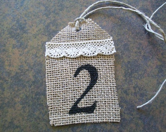 SET OF 5 - Burlap and Lace table numbers