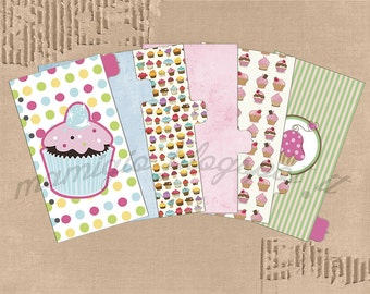 Set of 6 dividers, cupcakes themed