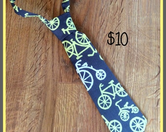 SALE ~ 1/2 PRICE SALE!!!      Handmade Little Boy Neck Tie / necktie Bicycle (grey and yellow)