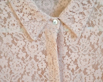 In Bloom Spring Floral Lace Collared Button Up Blouse Top Rose Quartz Pink S M