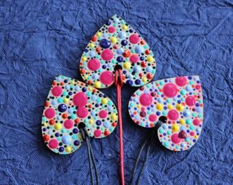 Multi Coloured Dotty Heart Shaped Necklace by Dizzysdots