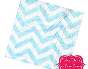 20 LIGHT Pastel BLUE Paper Napkins / Serviettes / 3ply / Retro Kids Party Supplies / Wedding / Baby Shower
