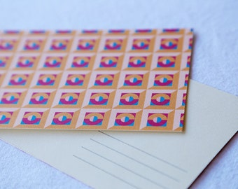 Postcard 'Edmond' geometric pattern 100mm x 152mm