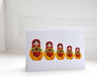 Beautiful A5 blank Russian Dolls Greeting Card