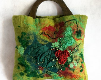 Felted  handbag. Wet felted bag. Silk flower bag.