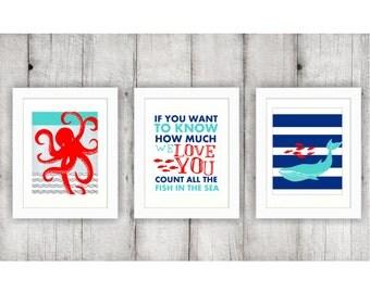 Nautical Nursery, 3 Piece Wall Art, Octopus Print, Sea Creature Art, Sea Creature Nursery, Whale Nursery, Instant Download, Ocean Nursery