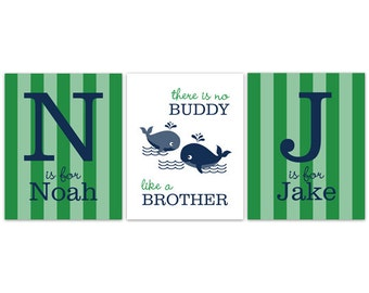 Nursery Wall Art, Brothers Wall Art, Brothers Quote, Boys Monogram Art, Whale Nursery, Twin Boys Wall Art, Boys Room Decor - KIDS157