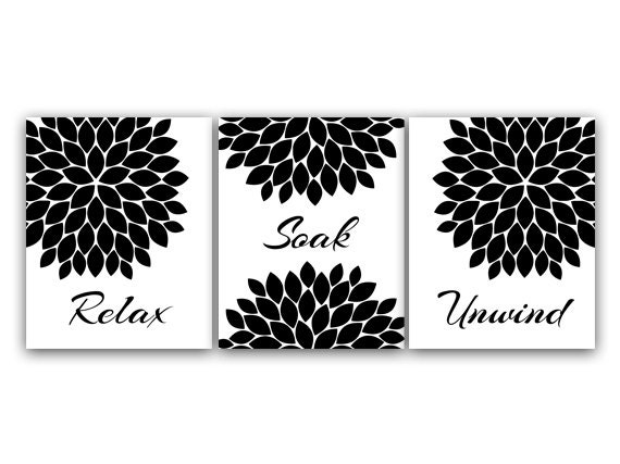 Bathroom CANVAS Relax Soak Unwind Black And White